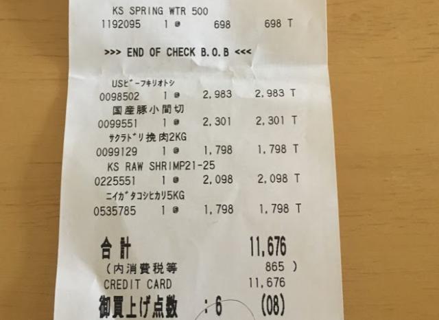 2018年6月コストコ購入品の合計金額