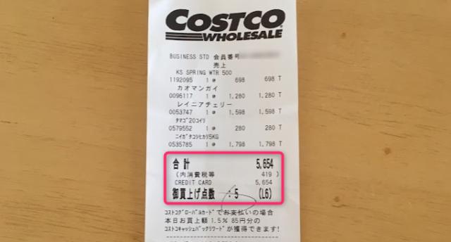 2018年7月コストコ購入品の合計金額